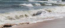 Atlantic Ocean Waves On A Windy Day Off Of Fire Island New York