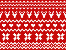 Nordic Traditional Seamless Pattern. Norway Christmas Sweater. Red And White Knitted Christmas Pattern With Deers, Hearts And Snowflakes. Hygge. Scandinavian Winter Pattern
