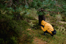 Person In Yellow Raincoat Photographing Mushrooms