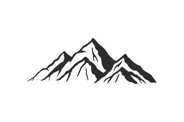 Mountain silhouette - vector icon. Rocky peaks. Mountains ranges. Black and white mountain icon