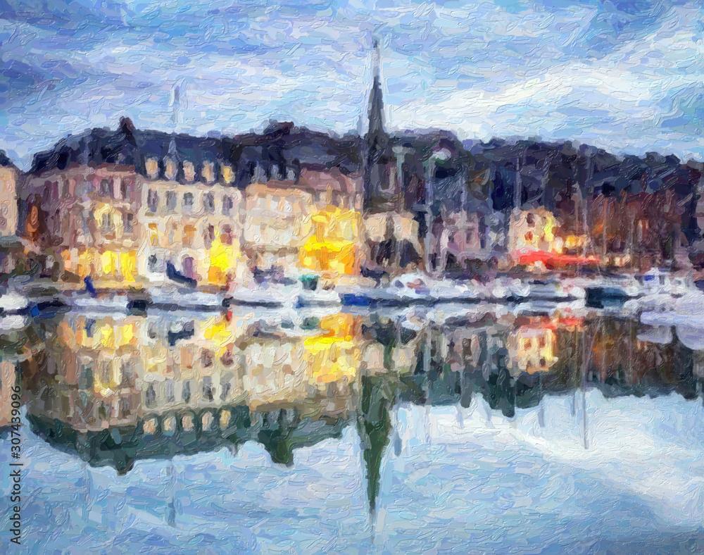 Fototapeta Impressionnisme. Port d'Honfleur à la tombée de la nuit. Calvados, France