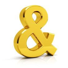 Ampersand Symbol 3d Render. Golden Ampersand Symbol Isolated On White Background.