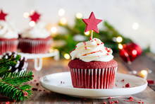 Christmas Red Velvet Cupcakes With Christmas Lights And Ornaments