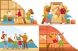 Set 2D Flat concepts, people on vacation, on excursions, on vacation. For Concept for web design