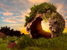 Sunset Through Hollow Tree Trunk