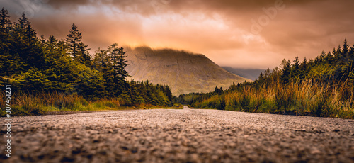 Road to Glen Brittle in the Isle of Skye, Scotland next to Glen brittle mountain in the Scottish Highlands Wallpaper Mural