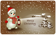 Snowman With Antique Kerosene Lamp And Winter Landscape Happy New Year And Merry Christmas Greeting Card . Vector Isolated For Postcard. Snow Man On Christmas Day, Merry Christmas And Happy New Year
