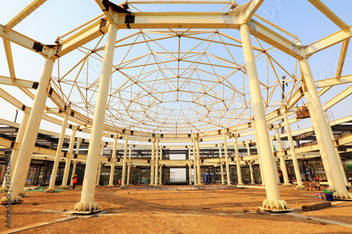 Photo  steel structure on a construction site