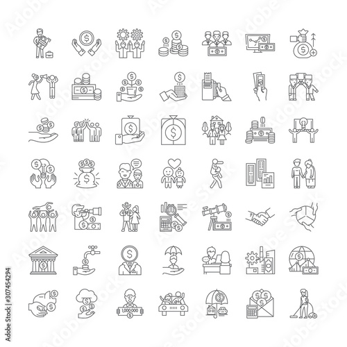 Altruism line icons, signs, symbols vector, linear illustration set Canvas Print