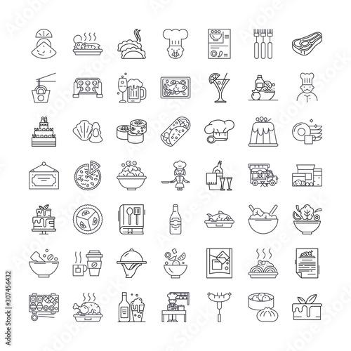 Fototapeta Horeca line icons, signs, symbols vector, linear illustration set