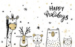 Template Christmas greeting card with a deer, owl and bear, giraffe, tiger.