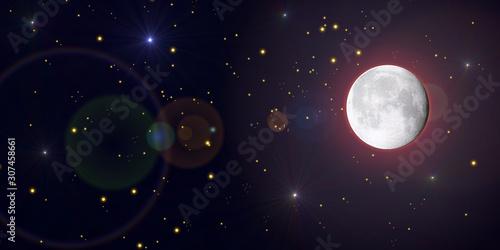 Luna piena con stelle cadenti nello spazio Wallpaper Mural