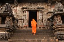 Indian Woman Worshiping At Hoysaleswara Temple