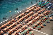Coloured Umbrellas On The Beach In Positano