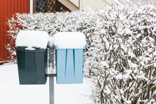 Mail Boxes Covered In Snow