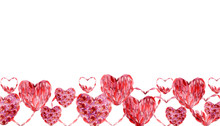 Watercolor Hand Painted Romantic Floral Composition Banner With Heart Shaped Pink And Red Flowers And Petals On The White Background For Saint Valentine's Day Holiday Celebration Greeting Cards