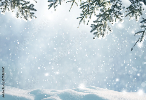 Merry christmas and happy new year greeting background with copy-space.Beautiful winter landscape with snow covered trees. - 307468600