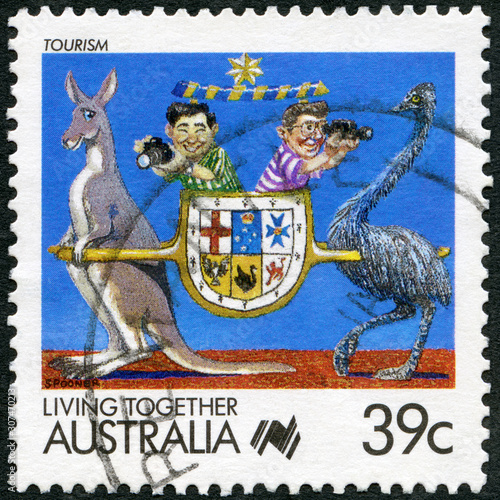 AUSTRALIA - 1988: shows Living Together Tourism, 1988 Canvas Print