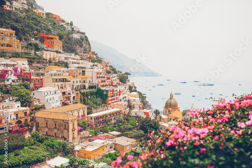 View of the town of Positano with flowers Canvas Print