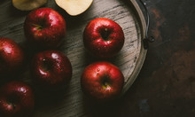 Fresh Red Apples With Moisture Drops.