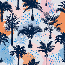 Palm Tree Seamless Pattern With Abstract Background. Silhouettes Of Drawn Tropical Plants. Flat Trendy Exotic Illustration With Banana And Coconut Palm Trees. Doodle Elements. Good For Textile, Fabric