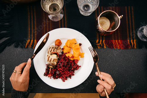 Overhead perspective of a dinner plate - 307476255