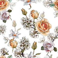 Fototapeta Vintage Floral seamless pattern with watercolor roses, cherry blossom and peonies.