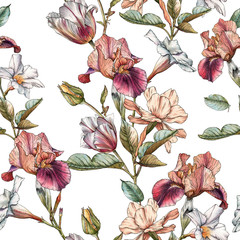FototapetaFloral seamless pattern with watercolor irises, tulips, narcissus and white flowers. Background with spring flowers
