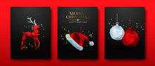 Christmas Set Red Low Poly Abstract 3d Decoration