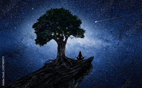 Photo Yoga woman under a tree in front of the universe