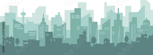 Silhouette of modern city with skyscraper and old houses. #307481813
