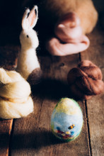 Close Up Of Stuffed Easter Egg And Animal Made Of Wool And Felt