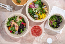 Overhead View Of Food Served O...