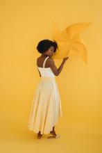 Sensual Black Female With Pinwheel
