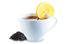 Cup Of Black Tea With Lemon, Honey And Ginger On A White Isolated Background