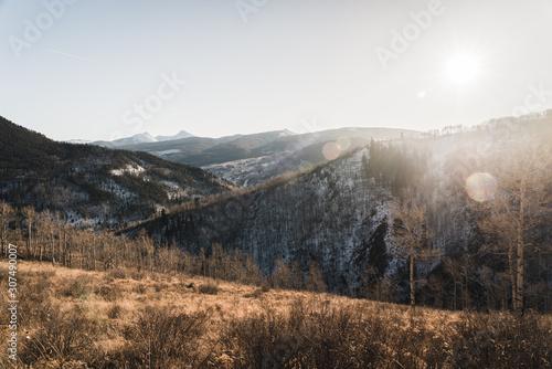 Landscape view of snow dusted hills near Vail, Colorado.