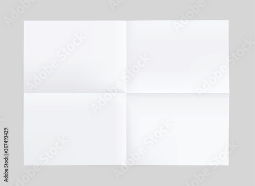 Blank of folded in a quarter paper Tablou Canvas