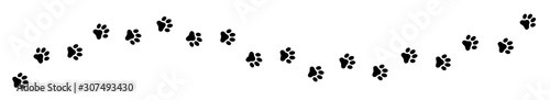 Foto Paw print cat, dog, puppy pet trace. Flat style - stock vector.
