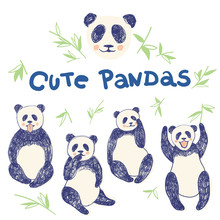 Set Of Hand Drawn Cute Pandas ...