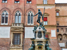 Famous Neptune Fountain In Bologna, Italy.