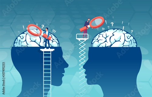 Obraz vector of scientists researching male and female brain looking for psychology differences - fototapety do salonu