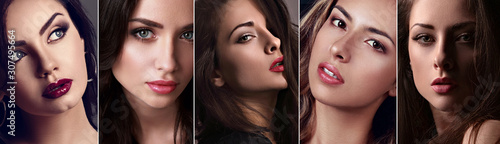 Photo Beautiful collage of sexy bright makeup emotional women with bright lips and eff