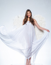 Angel Woman With Feather White...