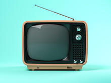 Blue Tv On Pink Background 3D ...