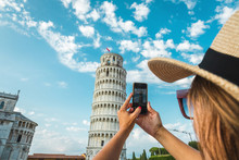 Tourist Girl In Pisa, Italy. W...