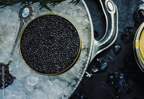 Black caviar served on table. Exquisite delicacy of black sturge Canvas Print