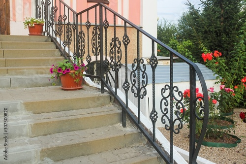Canvas Print Openwork wrought iron railing stairs
