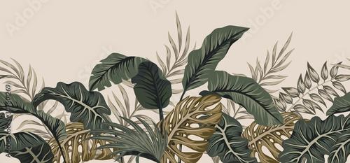 Fototapeta premium Tropikalne liście palmowe w dżungli
