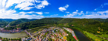 Aerial View Of Town Against Blue Sky, Hesse, Germany