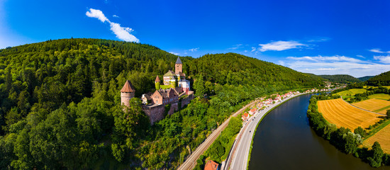 Aerial view of Zwingenberg Castle on mountain by Neckar River, Hesse, Germany